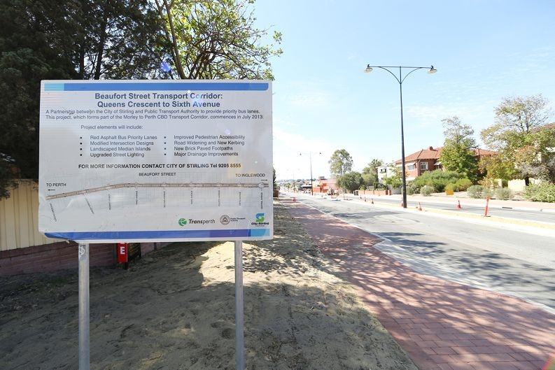 Beaufort Street: the road upgrade is on track for completion in July.