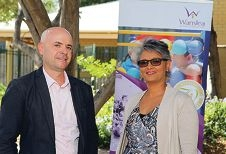 Wanslea executive manager Stephan Lund and grandcarer Avril Manning. Picture: Martin Kennealey www.communitypix.com.au d419205