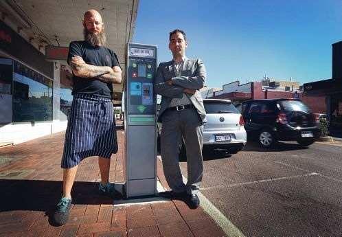 Owner of The Imp Cafe with Professionals Realestate Davide Palermo. Businesses on Albany Hwy in Victoria Park are angry about the Town installing Paid Parking meters at a cost of $5million which locals say will drive away customers.