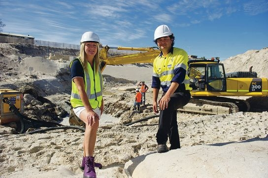 From Left: Mayor Tracey Roberts, Rory Ellyard (Coastal Project Manager) at the Quinns Beach coastal restoration works