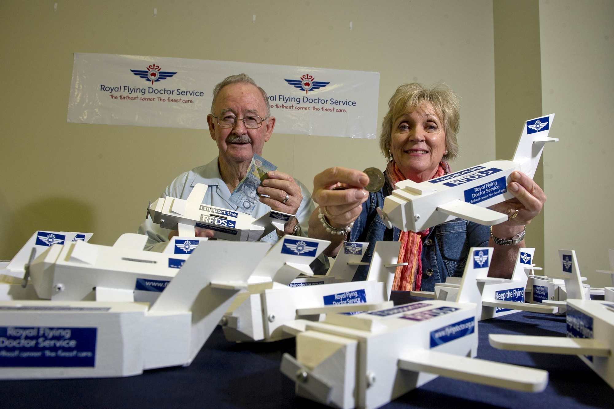 John Timms and Sue Caiacob with some of the moneyboxplanes. Picture: Emma Reeves www.communitypix.com.au d418786