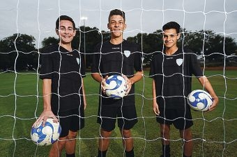 Perth Junior Soccer Club players Jackson Ledridge (15), Anthony Topini (14) and Angelo Calasse (14). Picture: Marcus Whisson www.communitypix.com.au d418964