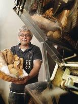 Making a crust: Heinz Muller, baker at Abhi's Bread.