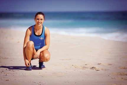 Georgette Alliss (29) competed at the National Surf Life Saving Champs in the 2km beach run. She came 20th which is a good result for her because she's coming off injury after changing up her training schedule
