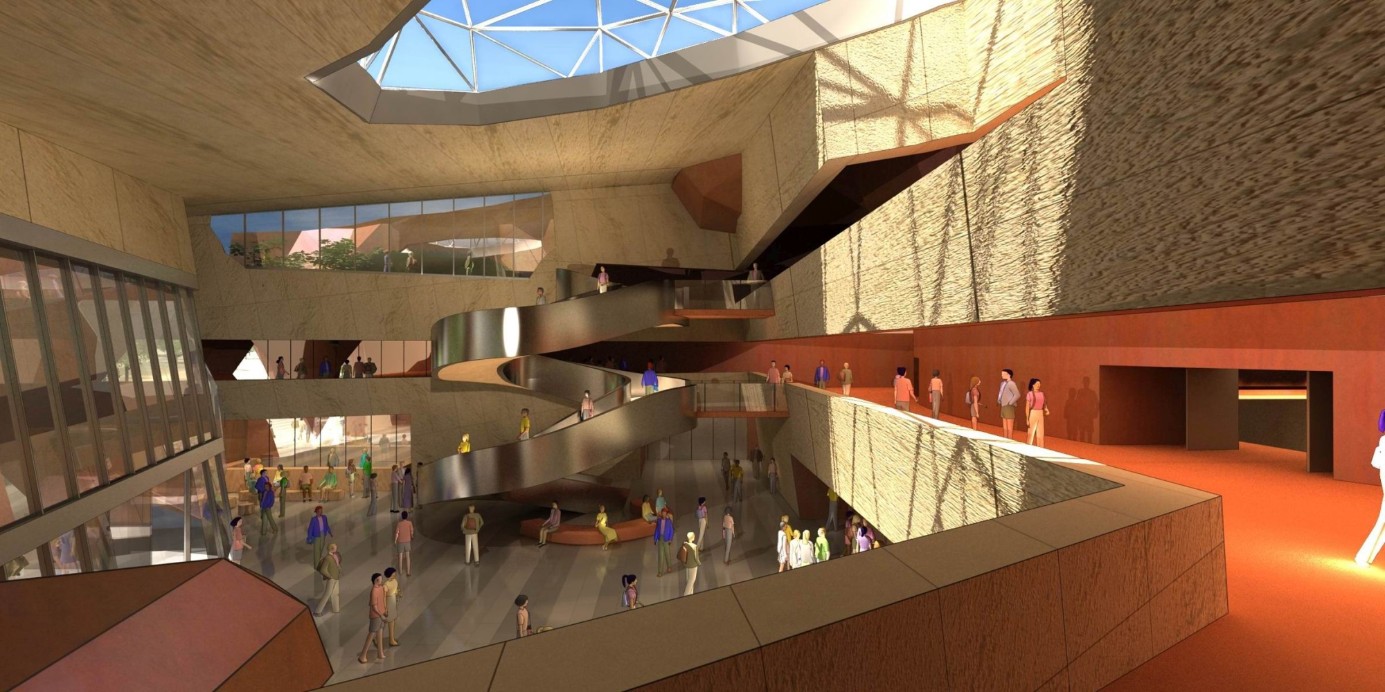 Artist's impression of the view from level one of the Joondalup Performing Arts and Cultural Facility into main entry foyer