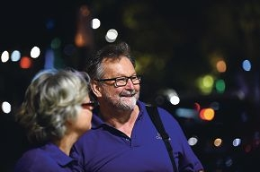 Street chaplains, from left, Gaby Woermann and Mike Lauer in Northbridge [NAMES OK]
