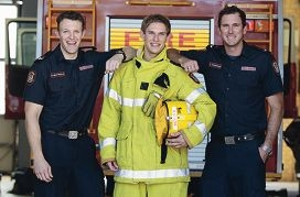 Bryn Nightingale, Mark Coultas and Lincoln Franceschi at Belmont Fire Station. Picture: Martin Kennealey www.communitypix.com.au d418314