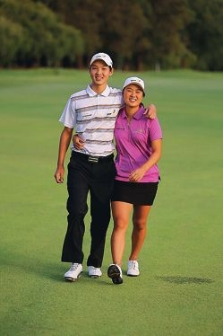 Young Winthrop golfers, siblings Min Woo and Minjee Lee out on the course. Picture: Stuart Williams/SportXchange