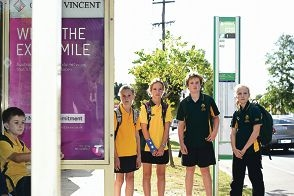 Mount Hawthorn Primary School students, from left, Michelle Miotti (12, Year 7), Ashleigh Joel (12, Year 7), Will Wiggett (11, Year 6) and Sophie Styles (11, Year 6) [NAMES OK]
