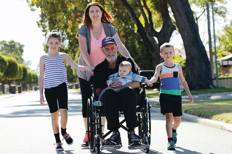 Jodie Hulm with her 3 children Isabella 8 Mitchell 6 and Liam 5 months and her father Neil Poultney who was diagnosed with Motor Neurone Disease