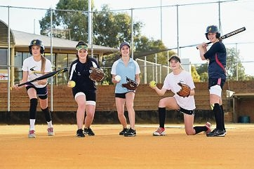 Softballers Kiara Heron, Beth Nolan, Sophie Campbell, Grace Petrie and Emma McLean are heading to Blacktown. Picture: Marcus Whisson www.communitypix.com.au d419098