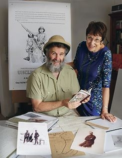 Neil Kidd and Jenny Quartermaine with memorabilia from Thomas Kidd's time at war. Picture: Martin Kennealey www.communitypix.com.au d417700