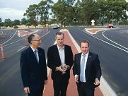 Peter Abetz (Southern River MLA) and Darling Range MLA Tony Simpson with Joe Francis (Jandakot MLA) just before completion last week.