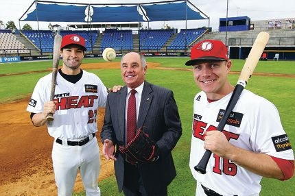 Perth Heat players Tim Kennelly and Luke Hughes and Minister for Sport and Recriation Terry Waldrom