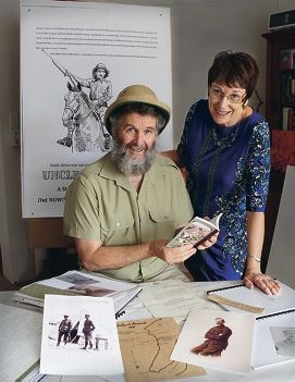 Neil Kidd and Jenny Quartermaine look at war memorabilia.