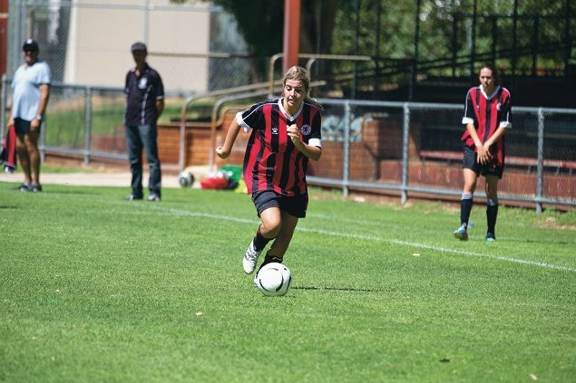 Stirling Panthers Captain Danielle Monasta in action out on the soccer pitch.