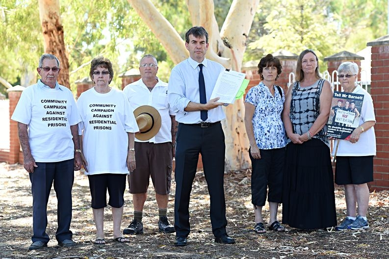Holding a stack of FOI documents, Bassendean MLA Dave Kelly poses with concerned citizens Odette Bird, Yvonne Caldwell, Anne Maddsley, Kevin Rainbow and Margaret and Bob Ashby. Picture: Marcus Whisson d418235