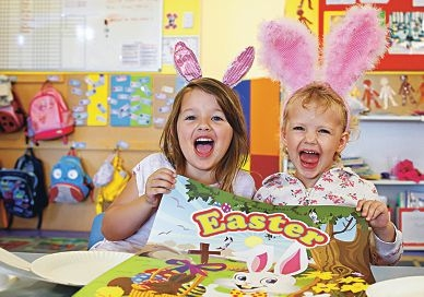 Scarlett Kemp (4) and Jessica Danaher (3) well and truly get into the Easter spirit.