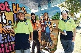 Cyril Jackson Senior Campus visual arts students, from left, Mikaela Wainwright, Rhyannyn Burrows and James King [NAMES OK]