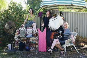 Discounted Dior, anyone? Fashion bloggers Laura Liy, Bonnie Doran and Adelle Cousins are selling some of their designer clothes at a garage sale this month. Picture: Marcus Whisson www.communitypix.com.au d418215
