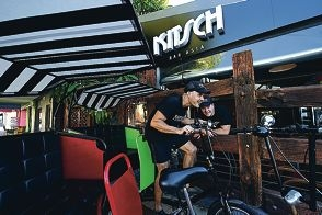 Rickshaw rider Ramon Fadli with Kitsch Bar Asia owner Nick Bond [NAMES OK]