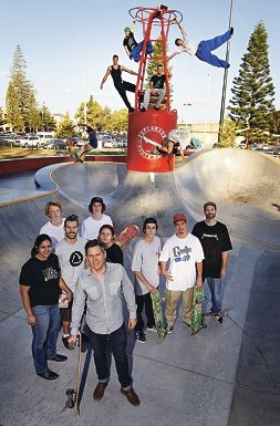 Skaters and Parkour enthusiasts with local organisers and Fremantle Mayor Brad Pettitt. Picture: Elle Borgward d415643