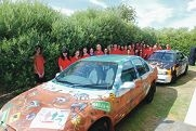 The decorated cars will be driven from Perth to Darwin to boost funds for the Cancer Council.