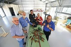 From left: Vincent Men's Shed members Gordon Hale and Bob Crowe, City of Vincent Mayor John Carey, Rotary Club of North Perth members Pettine-Ann Croul and Trevor Page [NAMES OK]