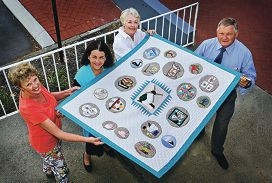L-R: Quilters at the South Perth Learning Centre - Robynne Vallence of Como, Sue Williamson of South Perth, Marda Salter of Como and Cr Kevin Trent of Kensington.  The quilt represents memories of the old Learning Centre.