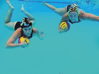 Water Polo WA state players Eliesha Browne (21) and Jessica Zimmerman (19). Picture: Andrew Ritchie d416808