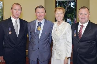 Scott Jessamine and Johnny Heesters with Governor Malcolm McCusker and Tonya McCusker at Government House.