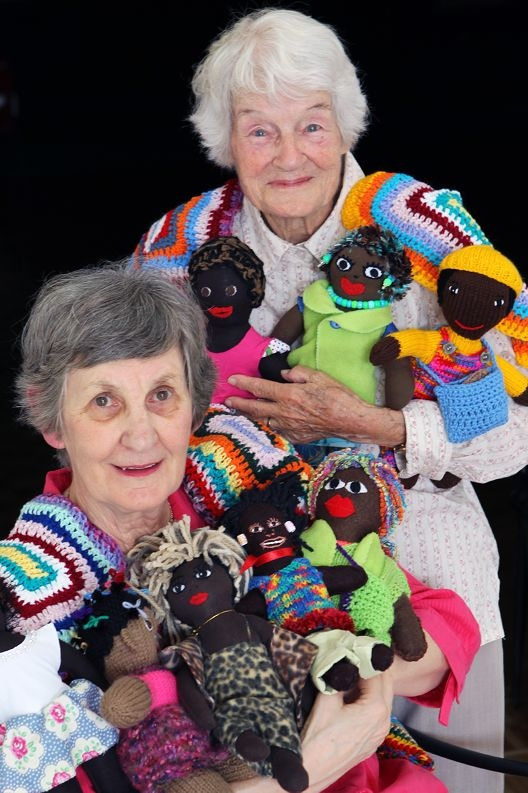 Irene Metcalfe and Judy Mackintosh with some of the dolls made for children in South Africa. Picture: Marcelo Palacios d418250
