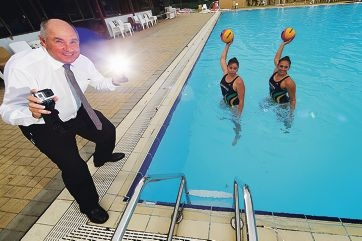 Sport and Recreation Minister Terry Waldron with WA state water polo players Eliesha Browne and Jessica Zimmerman. Picture: Andrew Ritchie www.communitypix.com.au d416808