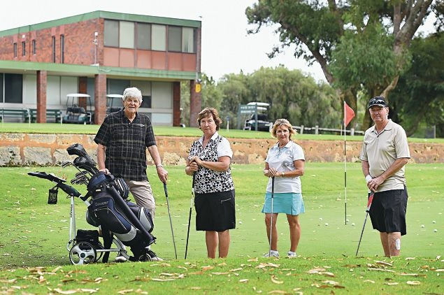 Hamersley Public Golf Course members Alex MacDonald, Jeanette Bannister and June and Garry Tardrew are against a proposed fence at the course. Picture: Marcus Whisson www.communitypix.com.au d417570