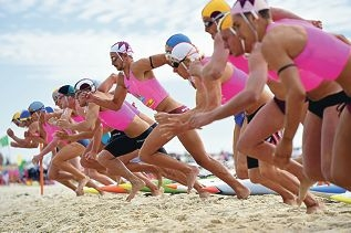 Action from the Australian Surf Life Saving Championships at Scarborough beach. Pictures: Marcus Whisson d417922