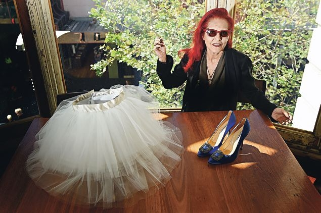 New York City-based fashion designer Patricia Field with Carrie Bradshaw's famous tutu and Manolo Blahnik shoes from Sex and the City . Picture: Marcus Whisson d417754