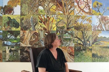 Show off: Spearwood artist Jane Martin with her large painting for Show Off X, an annual art exhibition .