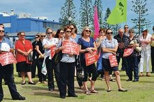 Public servants at the industrial action event in Fremantle on Thursday.
