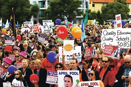 Fight for their future: Parents and teachers protesting education cuts last Tuesday. Pictures: Andrew Ritchie d417337
