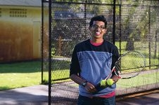 Justin Pereira is petitioning for a basketball court and tennis hit-up wall at Ellersdale Park. Picture: Emma Reeves d417912