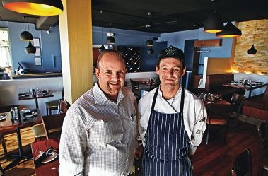 Latitude 32 owner Marc Kenly with chef Robert Boorman have found their upmarket restaurant a hit in Rockingham. Picture: Elle Borgward d417835