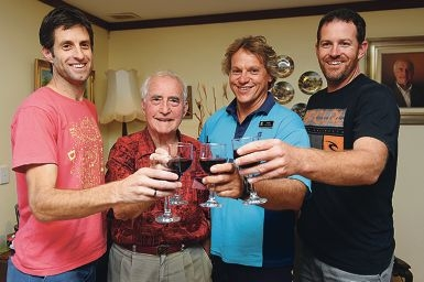 Derek Watts with his rescuers Renny Carroll, City of Stirling beach inspector Kevin Emery and Peter