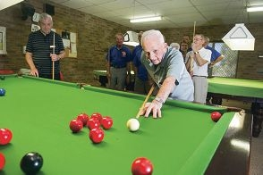 Ivan Bourke playing snooker with other Girrawheen-Koondoola Senior Citizens Club. Picture: Emma Reeves d416841