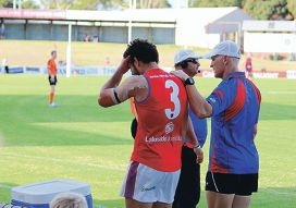 West Perth's Andrew Strijk in pain on Saturday.