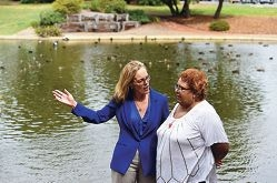 Mirrabooka MLA Janine Freeman discusses plans for the area with local resident Bev Port-Louis. Picture: Marcus Whisson d417455