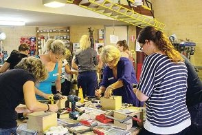 Women learned to tackle a series of hands on tasks using power tools during workshops run by electrician Sarah Jayne Flatters.