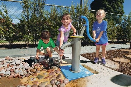 Pre-primary students Declan Scannel, Zara Worthington and Siena Antonas at play. Picture: Martin Kennealey d416996