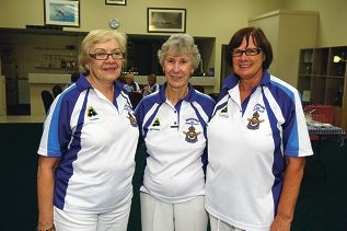From Left: Maureen Appleton, May O'Neill, Julia Barron. Merriwa Ladies Bowling Club is hosting about 160 players for its annual gala day
