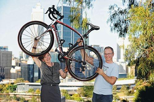 Velofest Perth participants Tracie and Luke Dawson. Picture: Marcus Whisson