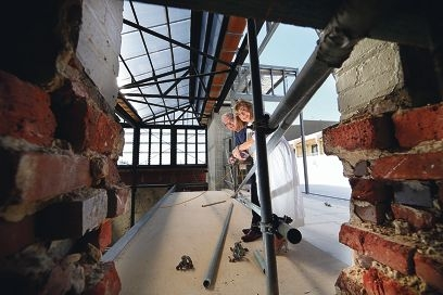 Subiaco Hotel ownerJudy Monaghan and her husband Michael inspect the renovation work.